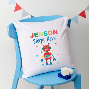 Boys Personalised Robot Cushion - cushions