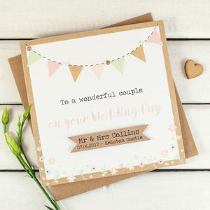 Wedding Day Card Personalised Kraft And Pastel Bunting - wedding cards & wrap