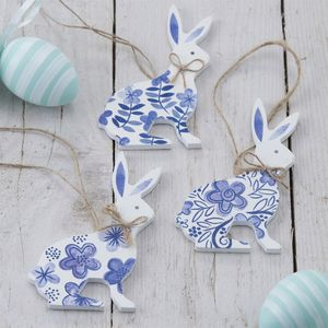 Blue And White Hand Painted Wooden Bunnies