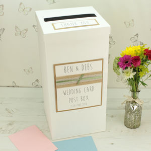 Personalised Hessian Lace Wedding Post Box - styling your day sale