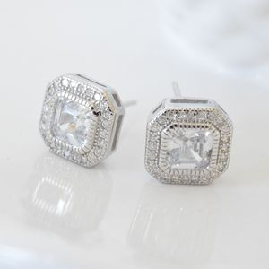 Sterling Silver Square Deco Crystal Stud Earrings