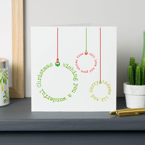 Personalised Typographic Bauble Cards - cards
