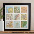 Personalised Nine Map Squares Print Gift For Him