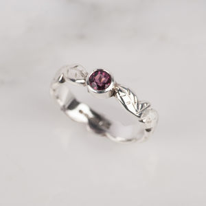 Tourmaline Silver Leaf Ring - engagement rings