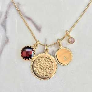 Personalised Disk Pendant With Birthstone