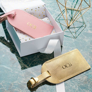 Luxury Leather Personalised Luggage Tag - gifts for couples