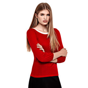 Black And Red Monochrome Knitted Blouses - sale