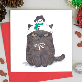 Cat In Snowman Hat Christmas Card