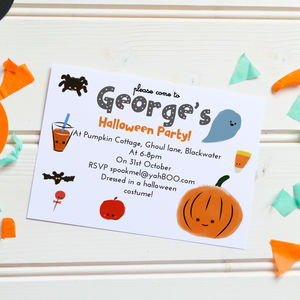 Children's Halloween Party Invites 'Pumpkin Candy' - invitations
