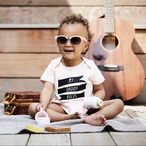 'Daddy/Mummy Rocks' Organic Cotton Babygrow Or Jumpsuit - music-lover