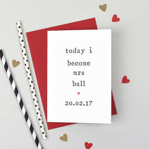 Personalised 'Today I Or You Become' Wedding Card - wedding cards & wrap