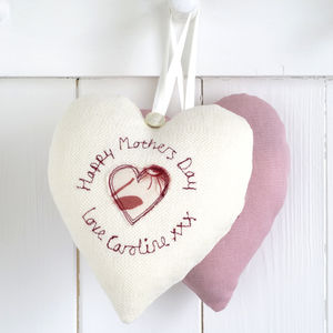 Personalised Mother's Day Embroidered Heart - bedroom