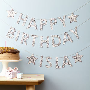 Personalised Happy Birthday Liberty Bunting Fabric Card - bunting & garlands