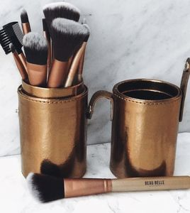 12pc Gold Makeup Brush Set And Holder