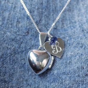 Heart Locket With Birthstone - 18th birthday gifts