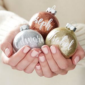 Personalised Glitter Bauble - copper christmas trend