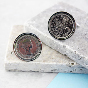 Sixpence 1967 50th Birthday Coin Cufflinks - cufflinks