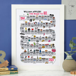 80th Birthday Personalised Print The Road To 80