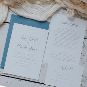 Fantasy Blue Calligraphy Script Wedding Invitation Set