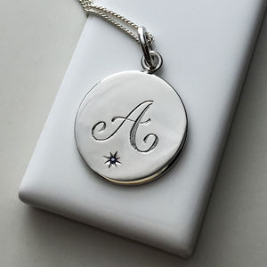 Birthstone Initial Necklace In Sterling Silver - 50th anniversary: gold