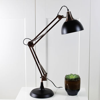 Copper And Black Angled Desk Lamp