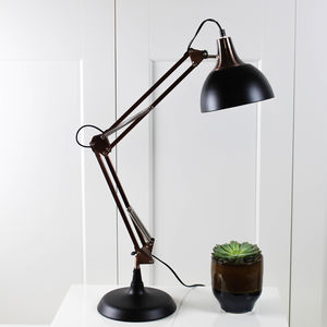 Copper And Black Angled Desk Lamp - table lamps