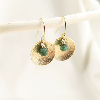 Emerald Gemstone Disc Earrings Silver Or Gold