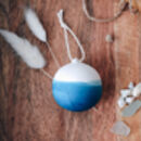 Personalised Blue Hand Dipped Christmas Baubles