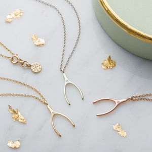 9ct gold lucky diamond wishbone necklace by posh totty designs 9ct gold lucky diamond wishbone necklace by posh totty designs notonthehighstreet aloadofball Image collections