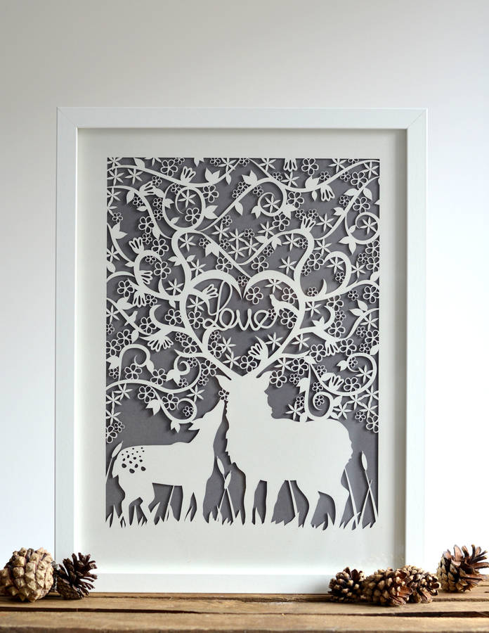 Framed Love Stag And Doe Paper Cut Print