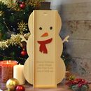 Engraved Wine Box Snowman Design