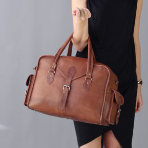 Vintage Style Leather Overnight Bag - bags & cases