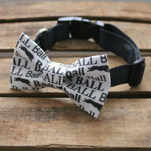 Ball Print Dog Collar Bow Tie - dogs