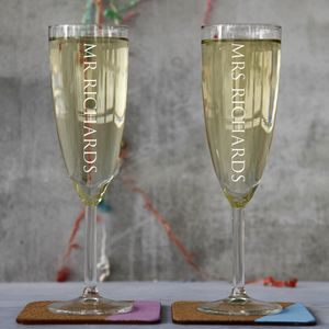 Personalised Pair Of Champagne Flutes