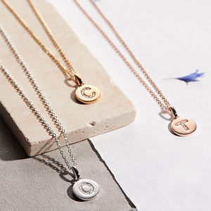Genuine Diamond Initial Disc Necklace - personalised mother's day gifts
