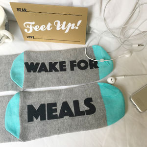 Funny Socks For Students Please Wake For Meals