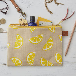 Lemons Fruit Linen Zipped Purse - make-up & wash bags