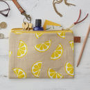 Lemons Fruit Linen Zipped Purse