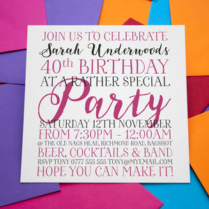Personalised Birthday Enagement Wedding Invitations - adults party invitations