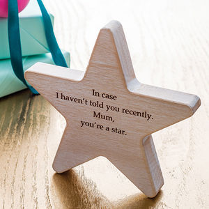Personalised Wooden Star Keepsake - gifts for mothers