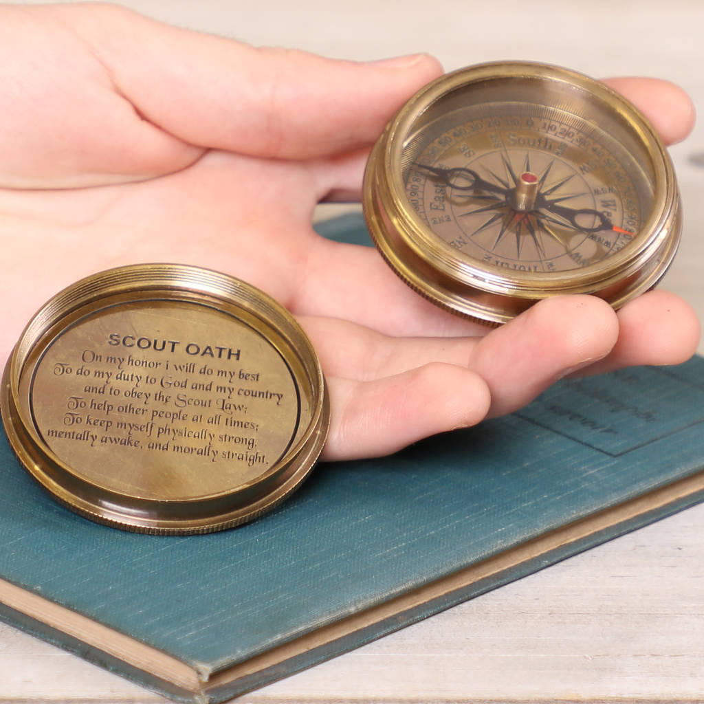 Scout's Oath Brass Compass And Calendar