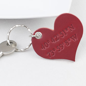 Leather Coordinates Heart Keyring