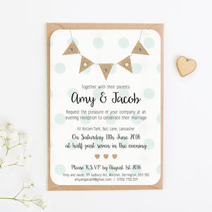 Burlap Bunting And Polka Dots Gem Evening Invitation - invitations