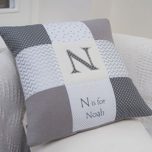 Silver Alphabet Cushion - personalised
