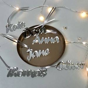 Personalised Mirrored Perspex Name Gift Tags