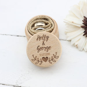 Personalised Wooden Wedding Ring Box In Nine Designs