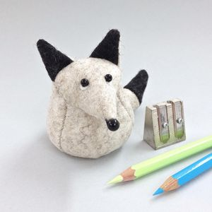 Handmade Fleming The Arctic Fox Paperweight - desk accessories