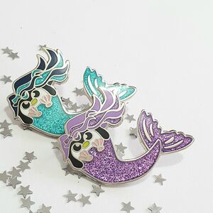 Glittery Mermaid Penguin Enamel Pin Badge