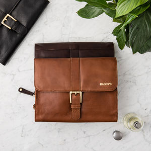 Personalised Men's Leather Buckle Washbag