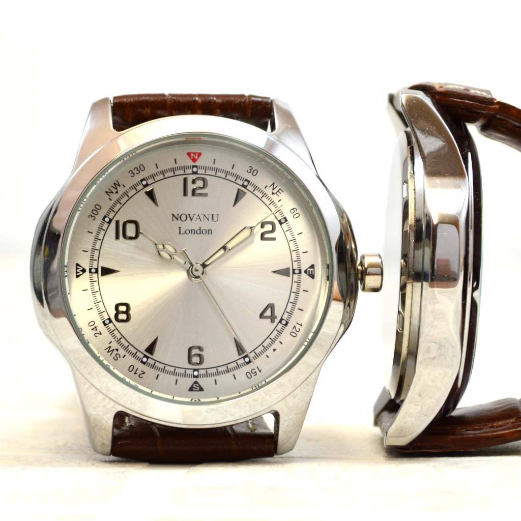 Engraved Men's Brown Leather Wrist Watch By Gifts Online4 ...